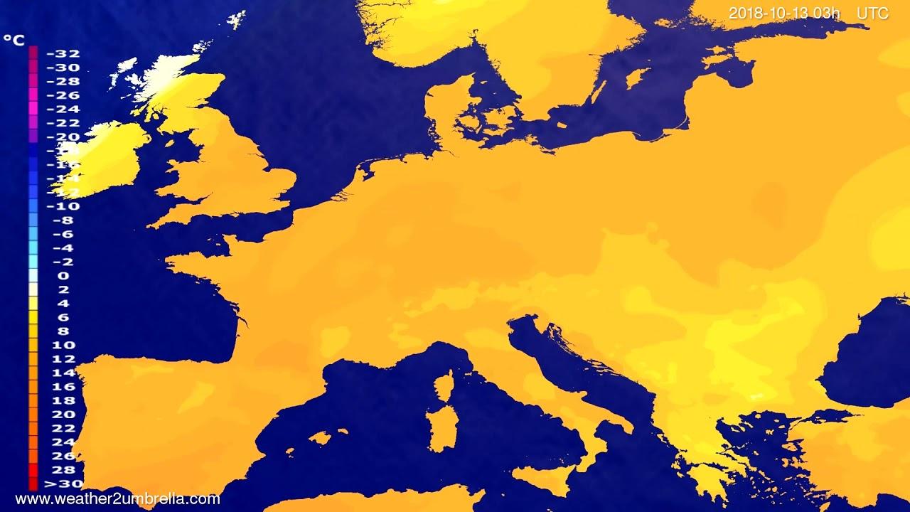 Temperature forecast Europe 2018-10-10
