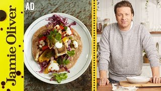 This is a paid Ad. Bring a little sunshine into your life with this colourful and healthy recipe.  Homemade tacos loaded with a quick pickle, chargrilled veg, fish fillets and a generous dollop of spicy salsa.  Fresh, full of flavour and ready in minutes.See more from my friends at Tefal http://JamieOliver.com/shop/homewareFor more info on Tefal pans check out http://www.tefal.com/jamie-oliverLinks from the video:Golden Chicken with Minty Veg  http://jamieol.com/goldenchickenvegSweet Potato Chilli  http://jamieol.com/sweetpotatochilliPerfect Fish Pie  http://jamieol.com/PerfectFishPieCharred Veg Salad  http://jamieol.com/CharredVegSaladFor more information on any Jamie Oliver products featured on the channel click here: http://www.jamieoliver.com/shop/homeware/For more nutrition info, click here: http://jamieol.com/NutritionSubscribe to Food Tube  http://jamieol.com/FoodTubeSubscribe to Drinks Tube  http://jamieol.com/DrinksTubeSubscribe to Family Food Tube  http://jamieol.com/FamilyFoodTubeTwitter  http://jamieol.com/FTTwitterInstagram http://jamieol.com/FTInstagramFacebook  http://jamieol.com/FTFacebookMore great recipes  http://www.jamieoliver.comJamie's Recipes App  http://jamieol.com/JamieApp#FOODTUBEx