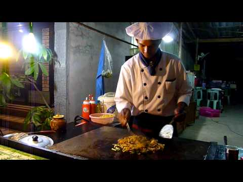 Thai Chef cooking Yaki Soba Hua Hin Thailand