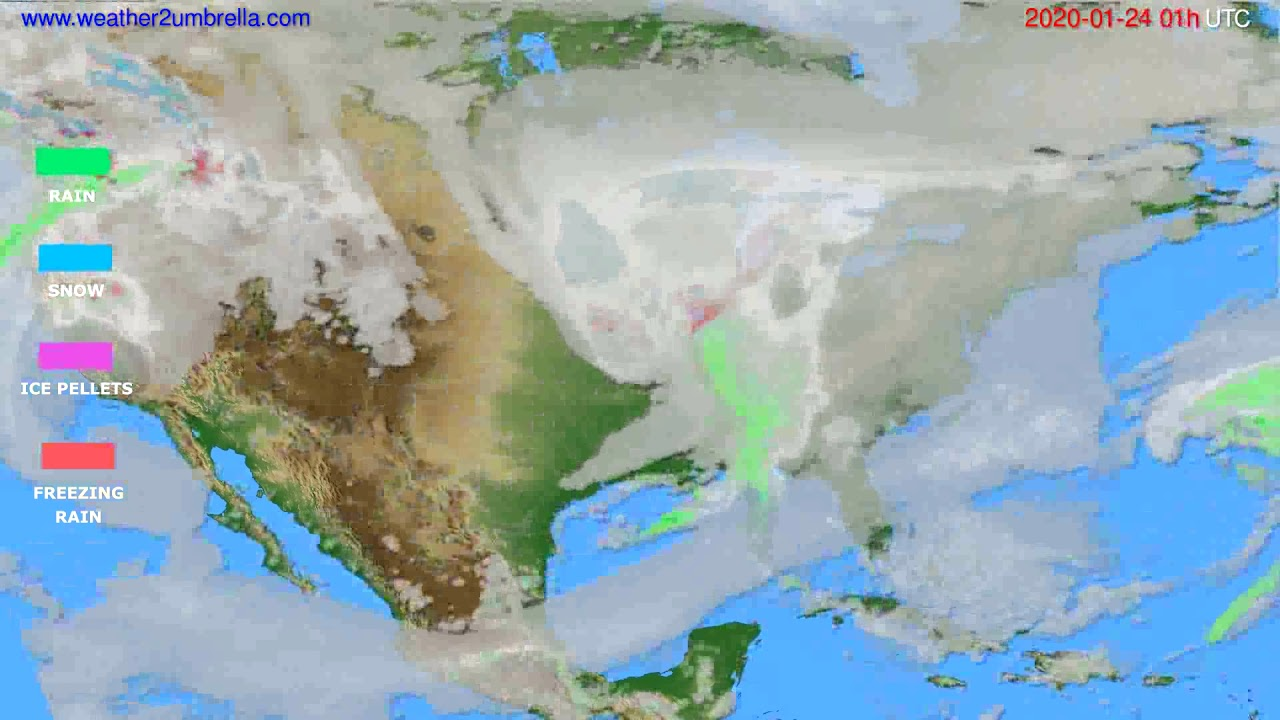 Precipitation forecast USA & Canada // modelrun: 12h UTC 2020-01-22