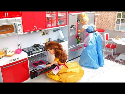 Cinderella Barbie Kitchen Cooking Toy Pancakes سندريلا باربي المطبخ Cinderela Barbie boneca Cozinha