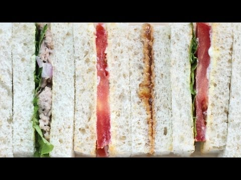 3 Tea Sandwich Recipes – Tomato; Tuna; Peanut Butter & Jelly 샌드위치 만들기