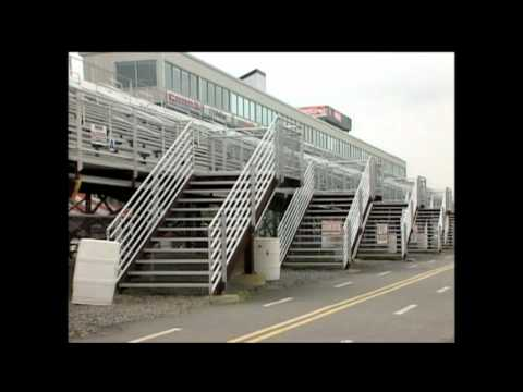 Newsman falls down stairs
