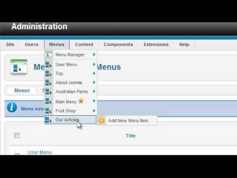 Menus - THIS LESSON HAS BEEN REPLACED. The Joomla 2.5 version is at: http://www.youtube.com/watch?v=1cFto0T_Q5w Joomla menus provide two functions - linking to a pag...