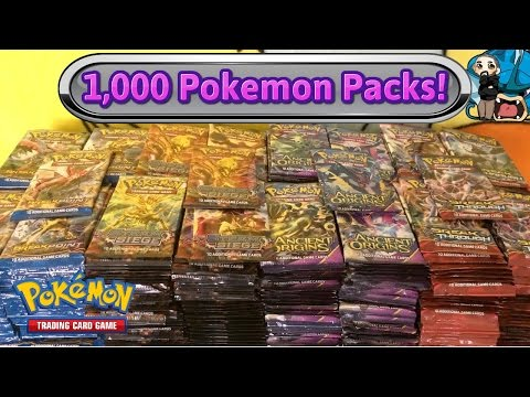 1,000 Pokemon pack opening! Largest Pokemon TCG card opening on YouTube!! (видео)