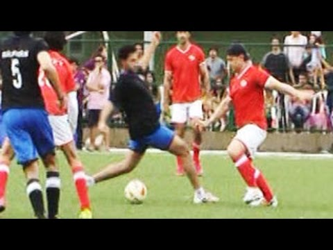 Abhishek Bachchan - The biggies of B-Town -- Aamir Khan, Hrithik Roshan and Abhishek Bachchan came together for a friendly celebrity football match organised by Aamir Khan's dau...