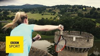 Two tennis club pros visit Eastnor Castle in Herefordshire for a spectacular attempt at the Wimbledon bottle topple challenge.Subscribe to the official BBC Sport YouTube channel now so you never miss out on our best videos, while over at bbc.co.uk/sport you can get all the best live sport, highlights and the latest news.Please subscribe HERE http://bit.ly/1sFodyu BBC Sport: http://www.bbc.co.uk/sport Facebook: https://www.facebook.com/BBCSport/ Twitter: https://twitter.com/BBCSport Instagram: https://www.instagram.com/bbcsport/