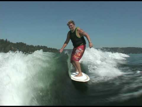 Jeff riding behind a Centurion on Inland Surfer 4-Skim woody
