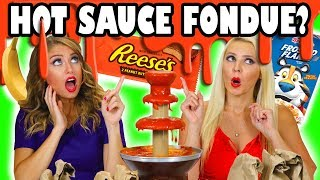 Sriarcha Challenge for Kids Giant Hot Sauce Fondue Fountain with Weird and Gross Food.Subscribe: http://goo.gl/F6BqkQIf you love crazy challenges, fondue fountains, and spicy food then you'll love this Sriracha Challenge where we dip weird ingredients into a giant hot sauce fondue fountain. Whoever taste test the grossest Sriracha sauce combinations will be the loser and they'll have to eat a bug. Yuck! Featuring: Jenn Barlow and Lindsey Jean Roetzel.Welcome to Totally TV, the totally fun channel just for kids! We'll have you laughing, singing, and dancing everyday with our challenges for kids, princess adventures, comedy sketches, songs, original music and so much more!More totally awesome videos we Like:Totally TV Videos for Kidshttps://www.youtube.com/playlist?list=PL8YI13LeOVR8lbbQ5rm7R3Qk-4rhyc9DsPrincess Adventureshttps://www.youtube.com/playlist?list=PL8YI13LeOVR-VjxujKTdxDpMZSl_qKHRoTotally TV Challengeshttps://www.youtube.com/playlist?list=PL8YI13LeOVR-J5hCPco08r4qWClHPiuxkPrincess Rap Battleshttps://www.youtube.com/playlist?list=PL8YI13LeOVR-wKOVnEzdOW3MBFH2ZoP79Pop Music Highhttps://www.youtube.com/playlist?list=PL8YI13LeOVR8FqDlK14uhQDBWbn6b6gCITotally TV Dance Videoshttps://www.youtube.com/playlist?list=PL8YI13LeOVR_tKx4QKC-DamaLDpdJPBR_Music: Totally TV OriginalTotally TV Channelhttps://www.youtube.com/user/DisneyToysFan/