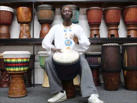 Ibou Ngom plays Drumskull Drums Calf Skin Djembe DSD-08549