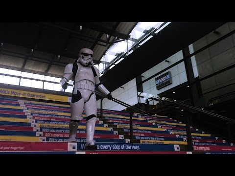 Stormtrooper Fail: Idiot Falls Down Stairs