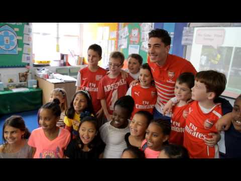 school - Hector Bellerin visited Sacred Heart Catholic Primary School in Islington to meet children studying Spanish through the Arsenal Double Club ahead of the European Day of Languages on Friday....