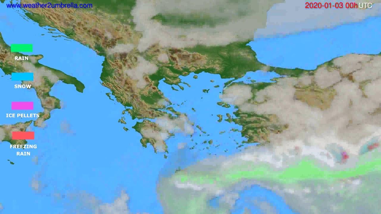 Precipitation forecast Greece // modelrun: 00h UTC 2020-01-02