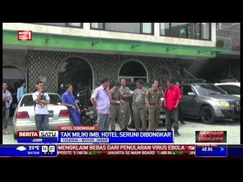 hotel di puncak - Satpol PP Kabupaten Bogor, Jawa Barat membongkar lima bangunan milik Hotel Seruni di kawasan Cisarua, Puncak, Bogor, Jawa Barat. Pembongkaran dilakukan karen...