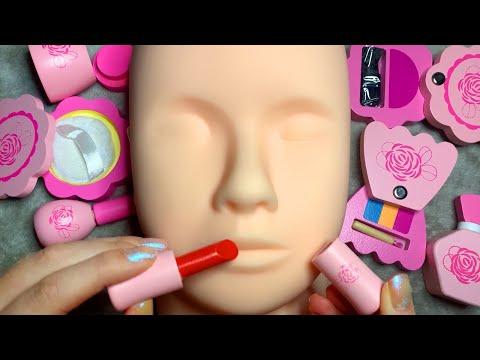 ASMR Wooden Makeup on Mannequin (Whispered)