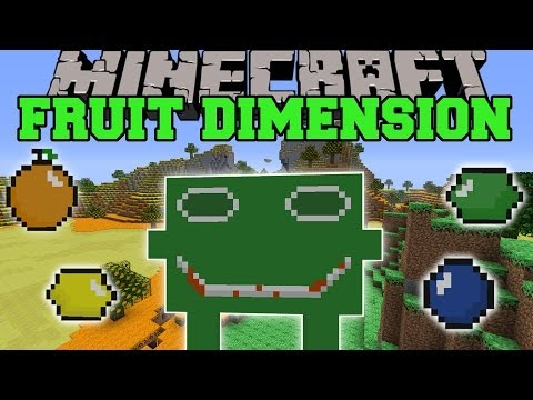 Minecraft: FRUIT DIMENSION (FUNNY MOBS, NEW BIOMES, & LOTS OF FRUIT!) Mod Showcase