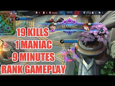19 KILLS , 1 MANIAC , 9 MINUTES GAMEPLAY BY LEGENDARY GAMER | MOBILE LEGENDS S16 WANWAN GAMEPLAY