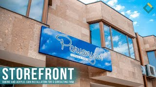 Storefront Dibond and Acrylic Sign Installation For a Consulting Firm