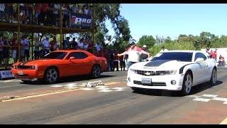 Camaro SS x Dodge Challenger SRT x BMW 335i Drag Race @ 201 mts HD Video