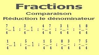 Maths 6ème - Fractions comparaison et réduction le dénominateur Exercice 2