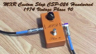 "Demo of the MXR Phase 90 Script guitar pedal. Officially called the ""MXR Custom Shop CSP-026 Handwired 1974 Vintage Phase 90 Pedal""The fuzz pedal is an AnalogMan SunFace BC109. Click here for a demo of that: https://youtu.be/PJLHsmKmXvYGuitar: Fender Stratocaster with SSL-5 Bridge Pickup, CS69 Middle, FAT50 NeckAmp: Reeves Custom 100Speaker: 2x12 Loaded with Eminence Swamp Thangs"