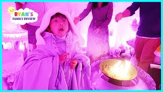 COLDEST RESTAURANT IN THE WORLD Made out of REAL ICE  + Dinosaur Kids Train Ride