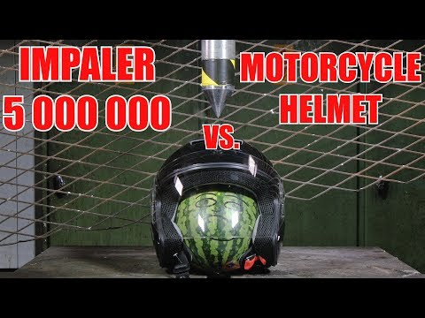 Impaling Motorcycle Helmet With 150 Ton Hydraulic Spike | In 4k