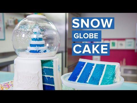 SNOW GLOBE CAKE!   Holiday Baking   How To Cake It