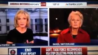 Host Andrea Mitchell interrupts former Congresswoman Jane Harman (D-CA) to report breaking news regarding the arrest of...