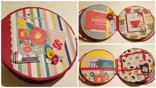 Mini Album circular 19 cm diámetro, colección True Stories de Shimelle, American Crafts Medidas: Tapa 19 cm) diámetro, Lomo 8 cm x 9 cm, paginas internas 18,...