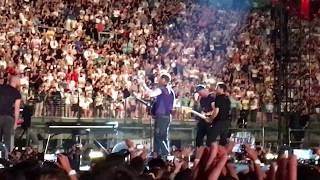 Chris Martin of Coldplay plays for first time ever Miracles (Someone Special feat. Big Sean) in Milano San Siro the 4th of July ...