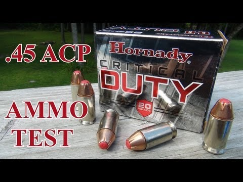 acp - Review and test of the .45 ACP +P Hornady Critical Duty 220 gr JHP. I'm using the SIM-TEST block (plus 4 layers of denim), and shooting both an XDS 3.3 and C...