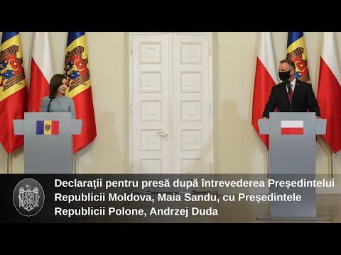 Președintele Republicii Moldova, Maia Sandu, a fost întâmpinată cu onoruri militare de către Președintele Republicii Polone, Andrzej Duda