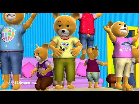 ten - Ten Little Teddy Bears Jumping on the Bed - 3D Animation English Nursery Rhymes for children.