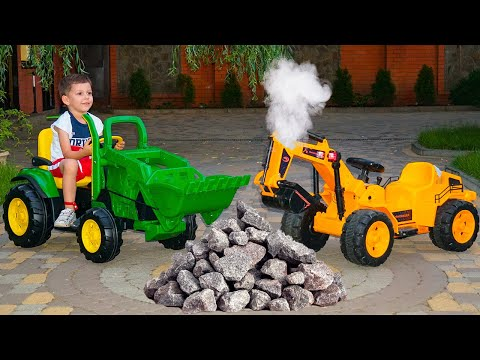 Funny Tema ride on Excavator Unboxing and Assembling Power Wheels JCB Tractor
