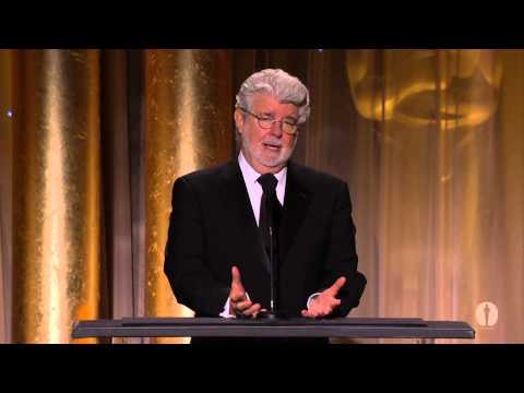 George - George Lucas speaks as part of the award presentation to Jean Hersholt Humanitarian Award recipient Angelina Jolie at the 2013 Governors Awards in the Dolby ...