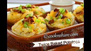 Twice baked potatoes involve baking the potatoes for one hour and scooping the flesh out. After that, mix it with a combination of...