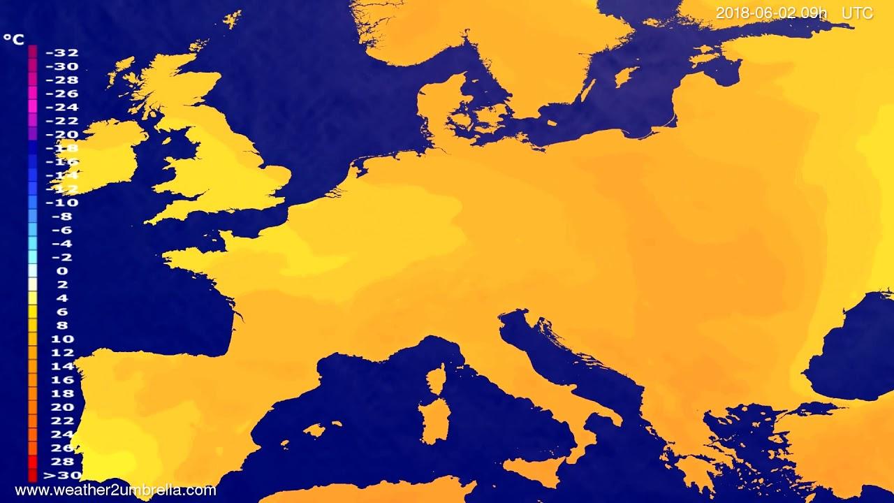 Temperature forecast Europe 2018-05-31