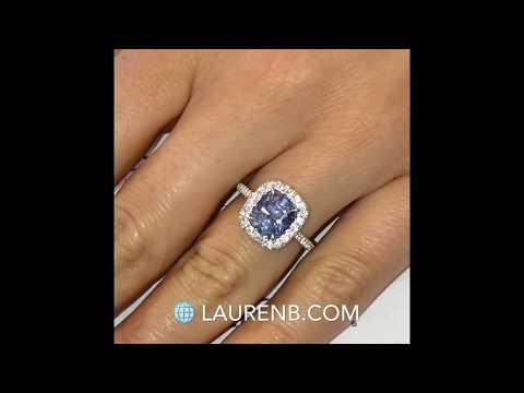 Cushion Cut Sapphire Halo Engagement Ring