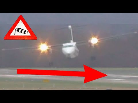 Aircraft approaching and landing during today 110km/h wind speed Storm at Düsseldorf airport