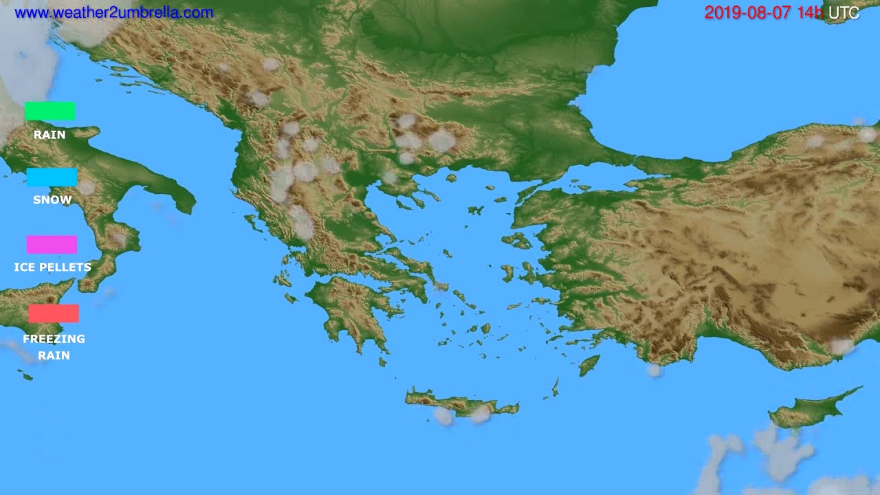 Precipitation forecast Greece // modelrun: 12h UTC 2019-08-05