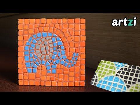 Mosaico com bandeja de isopor