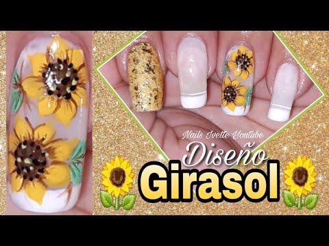 Decoración de uñas girasol/uñas decoradas con flor girasol/como dibujar una girasol paso a paso