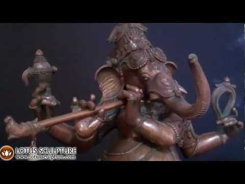 Bronze Dancing Ganesha Playing Flute 38