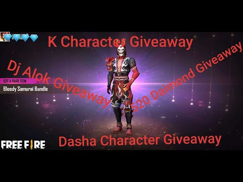 Free Fire Live 🔴 520 Daimond Giveaway K Character Giveaway Dj Alok Giveaway Dasha Character Giveaway