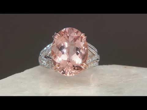 Oval Morganite & Diamond Bold Ring 14K Gold 7.00 cts on QVC