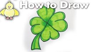 How to Draw a Cartoon Shamrock | 4-Leaf Clover Step by Step Drawing Tutorial