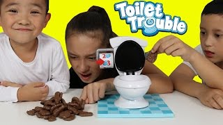 CHOCOLATE POO Toilet Trouble Game Funny Kids Challenge With Ckn Toys