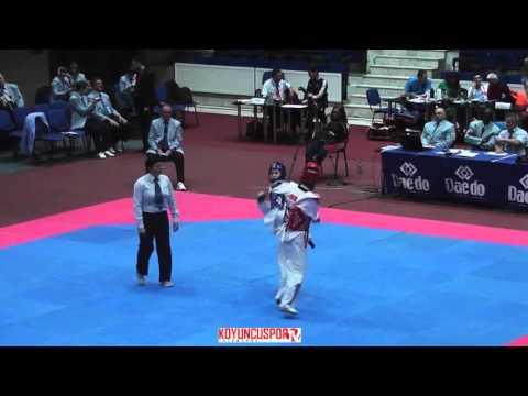 57kg Semifinal Durdane ALTUNEL (TUR) vs (NOR) MAGNUS, Marie  (-21 European TKD Championships 2015) (видео)