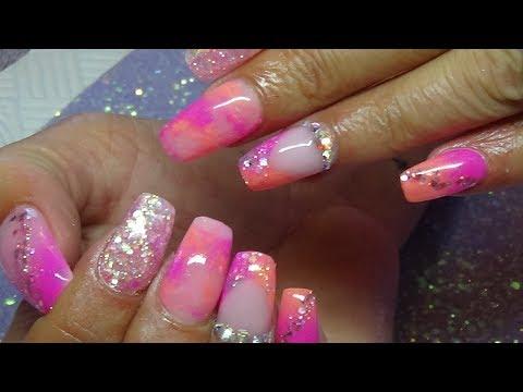 Bright summer nails using CJP (ACRYLIC NAILS)
